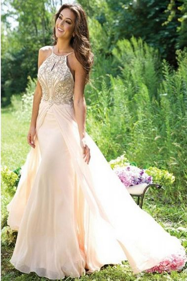 7074b8154eb1 New Design A-Line Beaded Backless Long Chiffon Prom Party Dresses Real Made  Chiffon Evening Dresses 50067