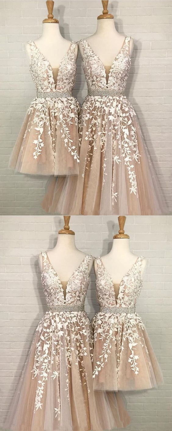 Champagne Tulle V-neck Homecoming Dress, Lace Embroidery Beaded Prom Short Dress For Party 300