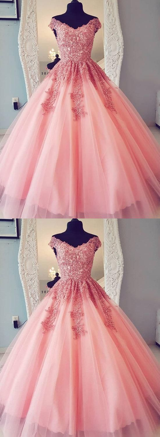 Elegant Appliques Tulle Ball Gown Prom Dress, Formal Quinceanera Dresses, Formal Gown