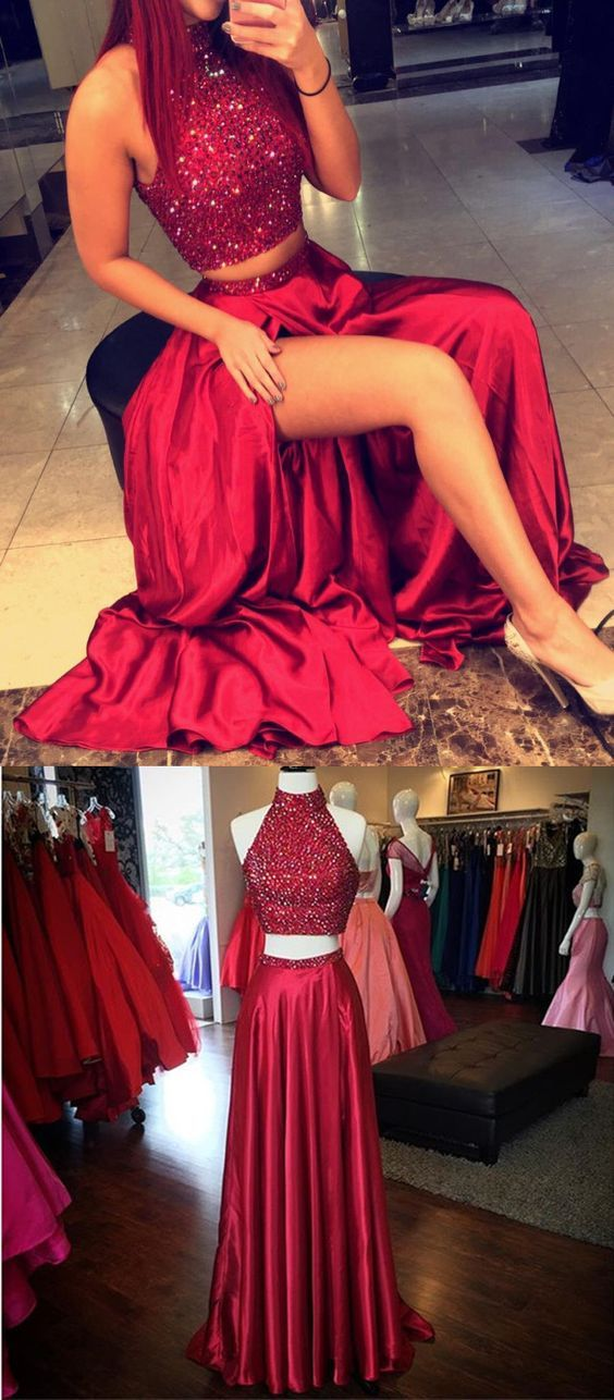 396c55963bb0 Sparkly Sequins Prom Dress,Two Pieces Prom Dress,Red Split Prom Dress,Satin