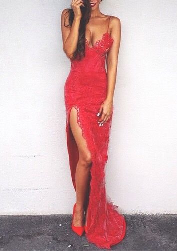 Spaghetti Prom Dress,Lace Prom Dress,Red Prom Dress,Fashion Prom Dress,Sexy Party Dress, New Style Evening Dress