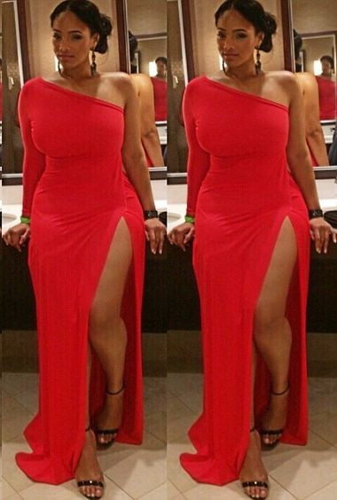 Plus Size Prom Dress,Red Prom Dress,Split Prom Dress,Fashion Prom ...