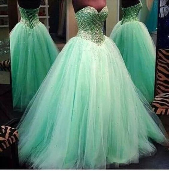 Green Beaded Embellished Sweetheart Floor Length Tulle Prom Gown Featuring Lace-Up Back