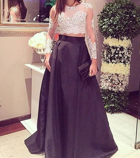 Two Pieces Prom Dress,Beaded Prom Dress,Long Sleeve Prom Dress,Fashion Prom Dress,Sexy Party Dress, New Style Evening Dress