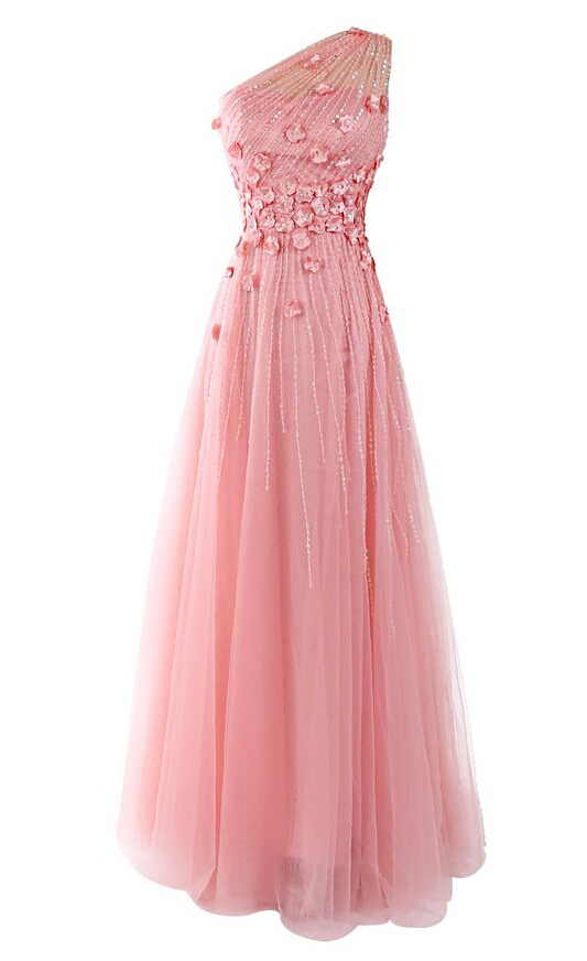 10bd26ad98 Pink Prom Dress,Applique Prom Dress,One Shoulder Prom Dress,Fashion Bridesmaid  Dress