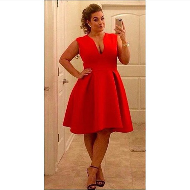 Plus Size Prom Dress,Red Prom Dress,Midi Prom Dress,Fashion Prom ...