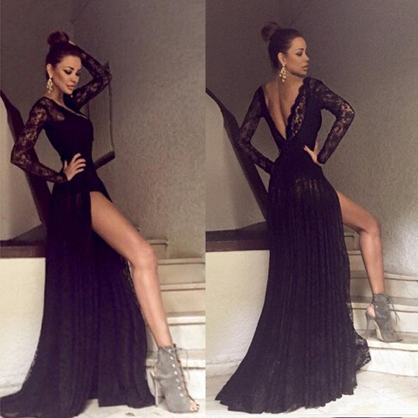 Black Long Sleeves Lace Side Split Sexy V Back Long Prom Dress Fashion Prom Dresssexy Party Dresscustom Made Evening Dress