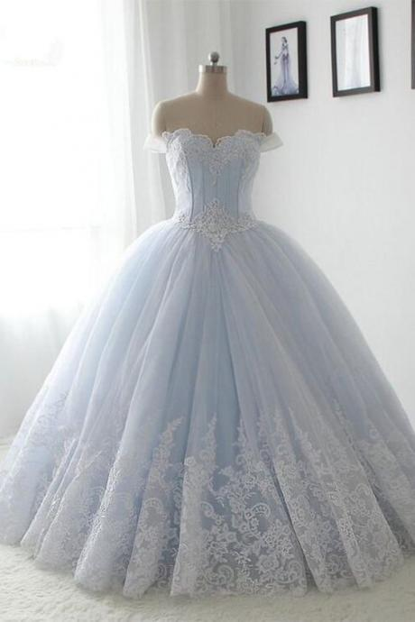 Light blue organza lace sweetheart A-line long dress,princess ball gown dress,Fashion Prom Dress,Sexy Party Dress,Custom Made Evening Dress