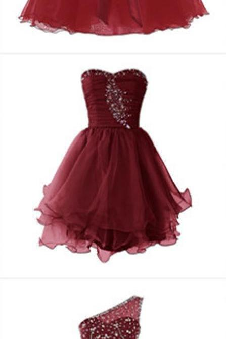 Burgundy Prom Dresses, Short Homecoming Dress,Fashion Homecoming Dress,Sexy Party Dress,Custom Made Evening Dress