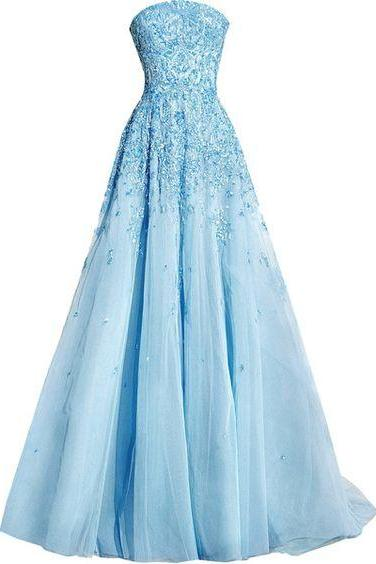Modest Quinceanera Dress,Blue Ball Gown,Fashion Prom Dress,Sexy Party Dress,Custom Made Evening Dress