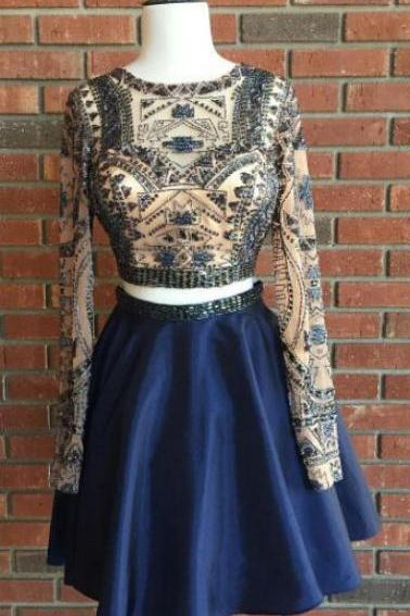 Two Pieces Beaded Prom Dresses, Short Homecoming Dress,Fashion Homecoming Dress,Sexy Party Dress,Custom Made Evening Dress