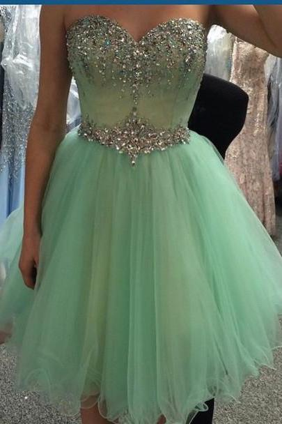 Sweetheart Neck Mint Tulle Homecoming Dresses Silvery Beaded Short Prom Dresses,Fashion Homecoming Dress,Sexy Party Dress,Custom Made Evening Dress