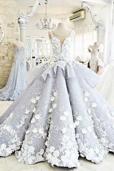 Modest Quinceanera Dress,Floral Ball Gown,Fashion Prom Dress,Sexy Party Dress,Custom Made Evening Dress