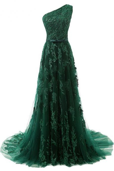 Hunter Green Prom Dress,One Shoulder Prom Dress,Fashion Prom Dress,Sexy Party Dress,Custom Made Evening Dress
