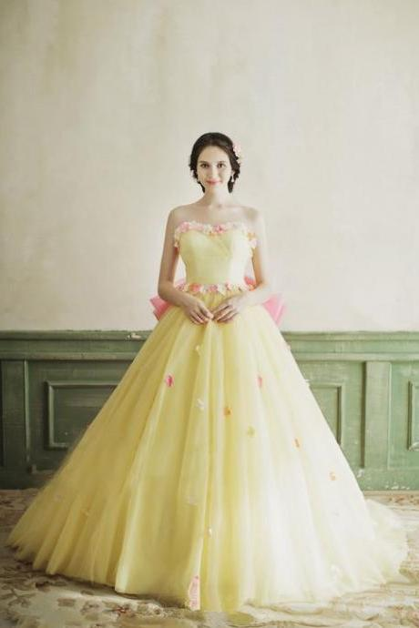 Modest Quinceanera Dress,Yellow Prom Dress,Fashion Prom Dress,Sexy Party Dress,Custom Made Evening Dress