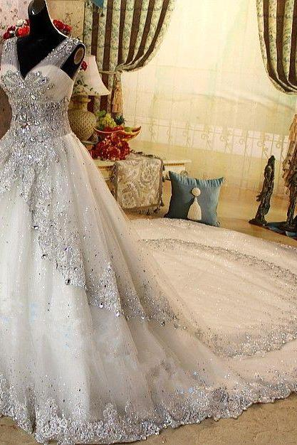 Beaded Wedding Ball Gown,Gorgeous Prom Dress,Fashion Bridal Dress,Sexy Party Dress,Custom Made Evening Dress