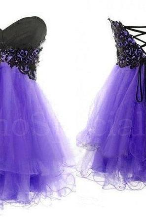 Cheap Fantastic Purple Lace Ball Gown Sweetheart Short Mini Prom Dress