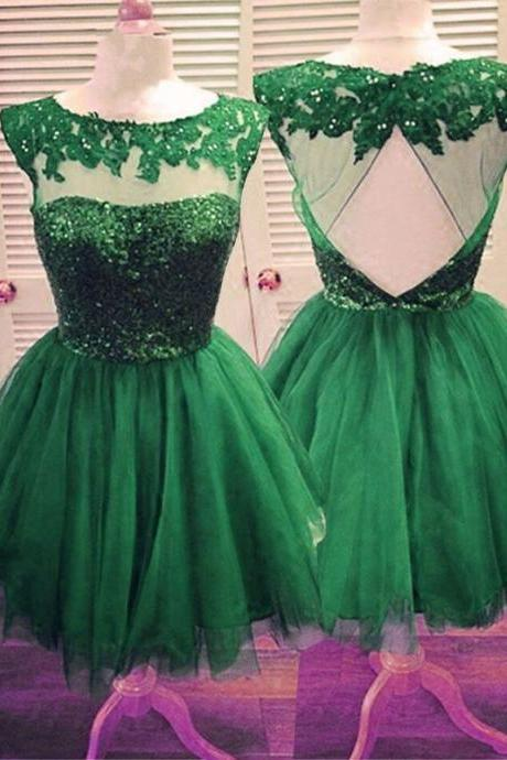 Tulle Homecoming Gowns,Backless Party Dress