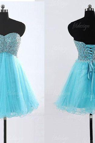 blue prom dress,short prom dress, sweetheart prom,Fashion Homecoming Dress,Sexy Party Dress,Custom Made Evening Dress
