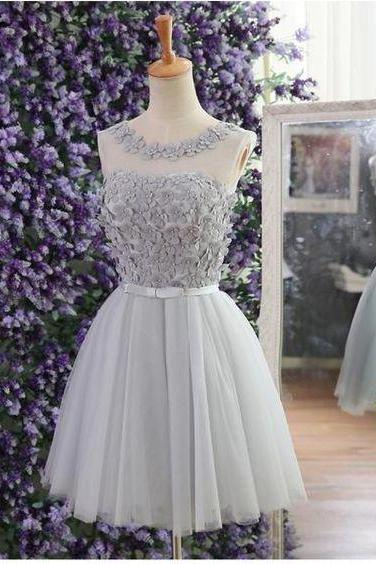 Cheap homecoming dress, lace up prom dress, cute homecoming dress with handmade flowers, silver prom dress