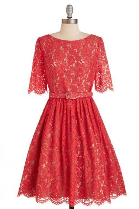 Cute A-line Scoop Knee Length Lace Homecoming Dress with Short Sleeves