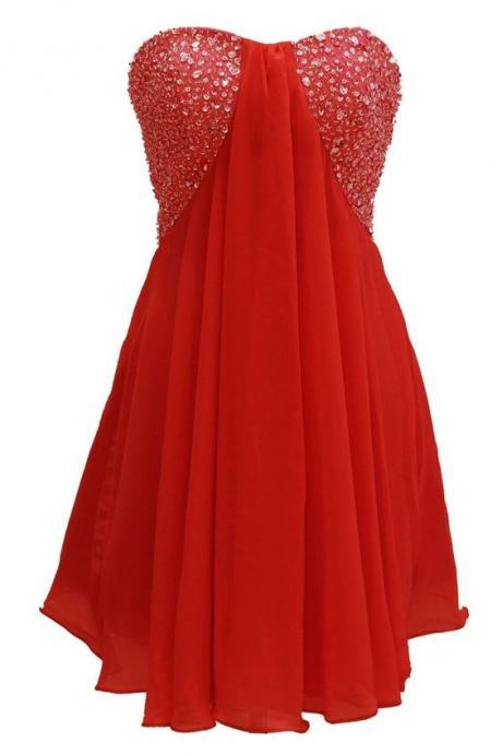 Beaded Prom Dresses,Red Homecoming Dresses,Fashion Homecoming Dress,Sexy Party Dress,Custom Made Evening Dress