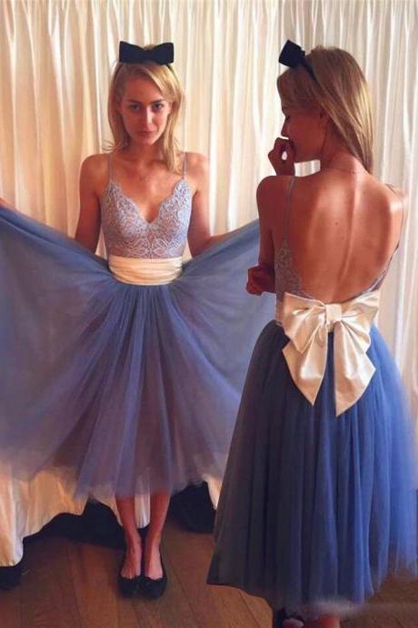 V-neck Open Back Tea-Length Blue Homecoming Dress with Lace