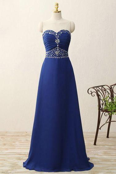 Beaded Strapless Sweetheart Long A-Line Chiffon Prom Dress