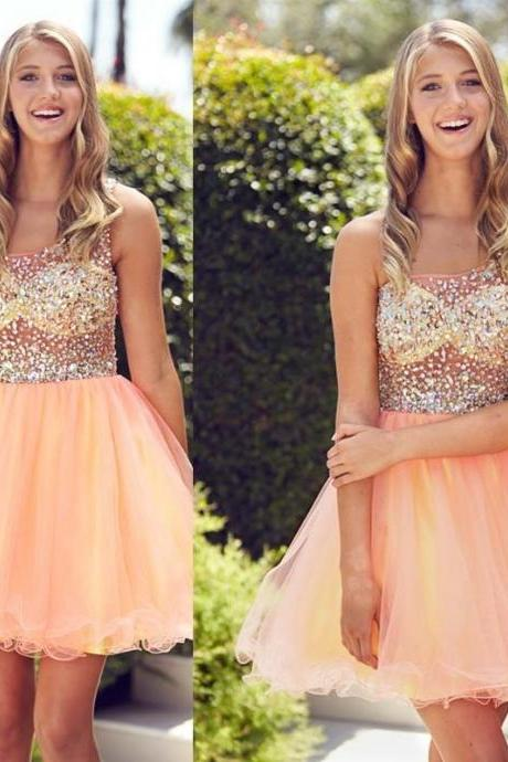 Tulle Prom Dress,Beaded Prom Dresses,Short Prom Gown,Cheap Homecoming Dresses, Short Cocktail Dresses