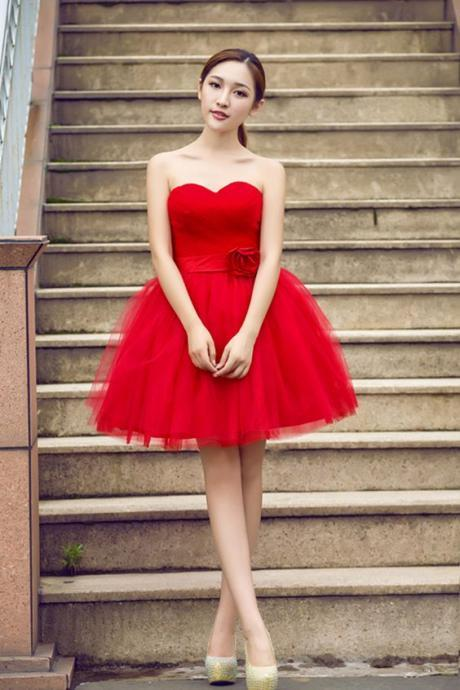 Red Prom Dress,Tulle Homecoming Dress, Cheap Homecoming Dresses, Short Cocktail Dresses