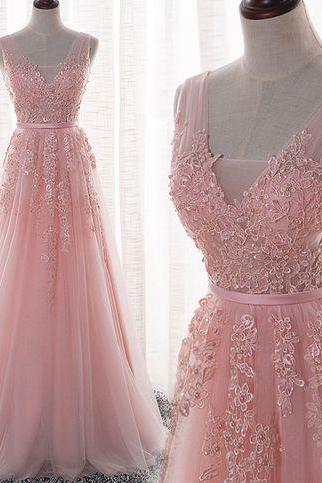 Beautiful Pink Applique Lace Charming Long Tulle Prom Dresses,Fashion Prom Dress,Sexy Party Dress,Custom Made Evening Dress