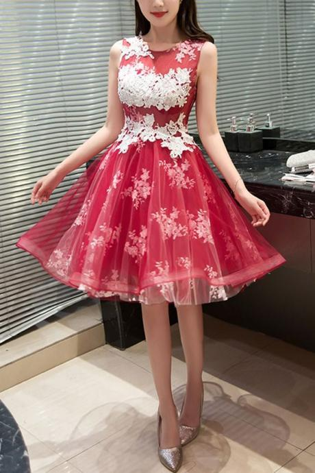 Lace and Appliques Prom Gown,Cute Prom Dress,Cheap Homecoming Dresses, Short Cocktail Dresses