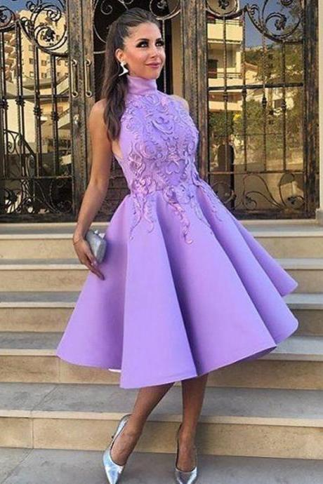 A-Line High Neck Tea-Length Satin Homecoming Dress With Appliques