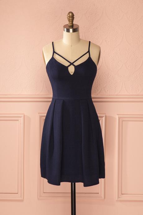 Sexy A-Line Spaghetti Straps Dark Blue Satin Homecoming Dresses With Pleats
