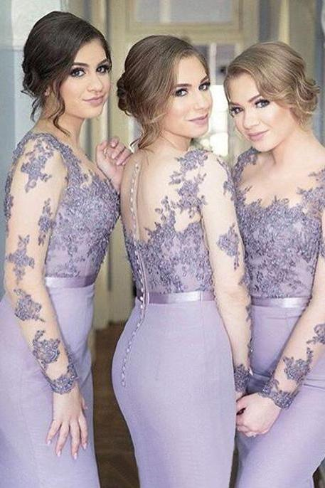 Charming Mermaid Round Neck Long Sleeves Purple Bridesmaid Dress