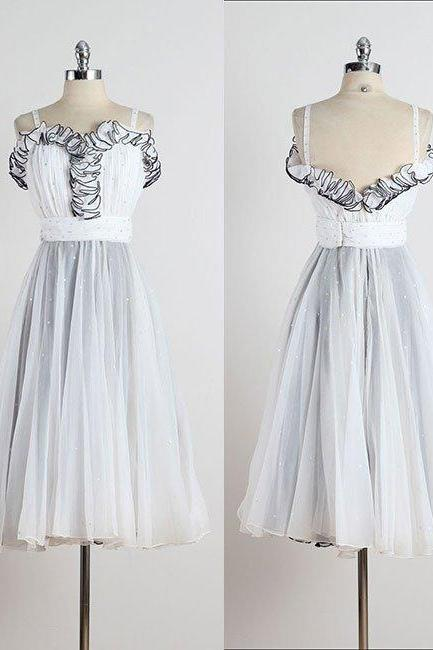 Retro A-Line Sweetheart Spaghetti Straps White Short Homecoming Dress