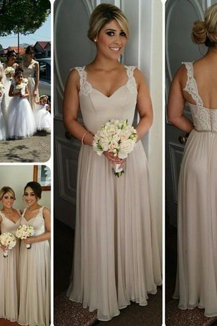 Lace Straps A-line Chiffon Cheap Floor Length Bridesmaid Dresses