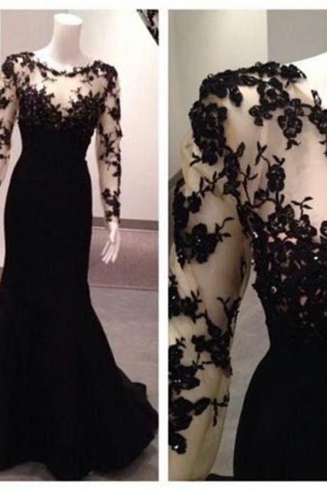 Black Lace Prom Dress,Long Sleeve Evening Dress,Fashion Prom Dress,Sexy Party Dress,Custom Made Evening Dress