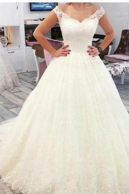 Charming Tulle Ball Gown Wedding Dress,Appliques and Lace Wedding Dresses,Formal Wedding Gown,Sexy Bridal Dresses