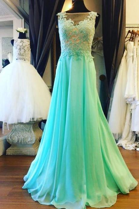 Appliques Beaded Prom Dresses,See Though Prom Dresses,Sleeveless Evening Dress,Formal Evening Gown