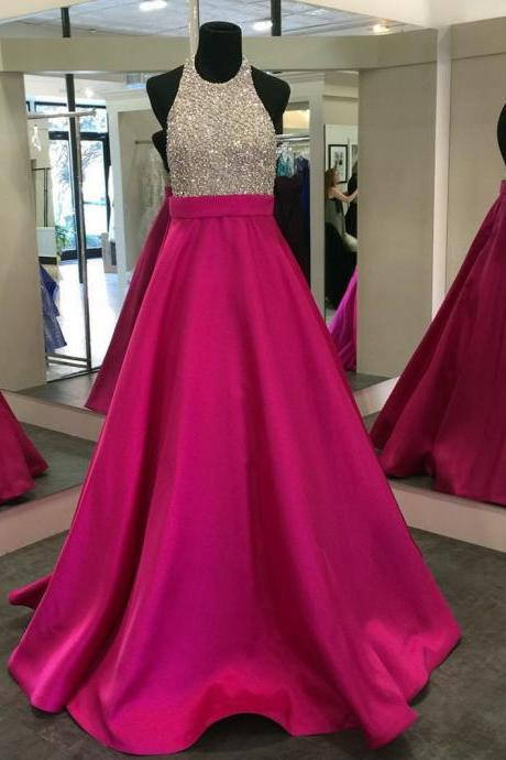 Backless Prom Dress,Beaded Modest Prom Dress,Sleeveless Halter Prom Dress,Long Evening Dress,Formal Dress