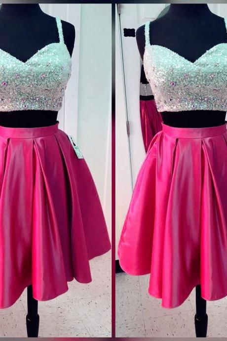Two Piece Prom Gown,Spaghetti Straps Prom Party Dress,Party Gown