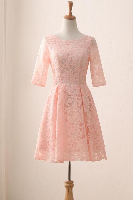 Lace Prom Dress,Pink Homecoming Dresses sexy Evening Dress,cute Party Dress