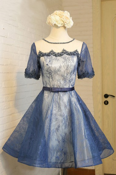 A-Line Crew Knee-Length Short Sleeves Navy Blue Lace Homecoming Dress