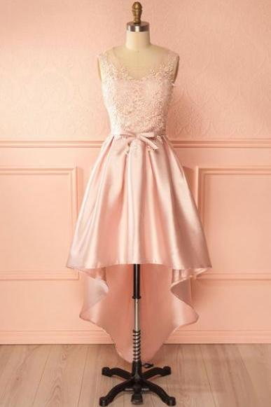 A-Line Scoop High Low Pink Satin Homecoming Dress with Appliques