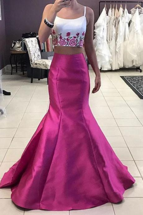 Two Piece Prom Dresses, Flower Evening Dress, Mermaid Evening Dress, Elegant Evening Dress, Sexy Evening Dress
