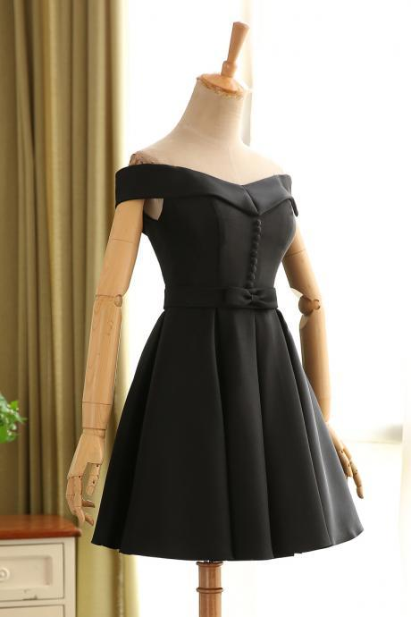 Black Homecoming Dress,Short Off Shoulder Sleeves Prom Dress,Black Graduation Dress,Sexy Off Shoulder Sleeves Party Dress