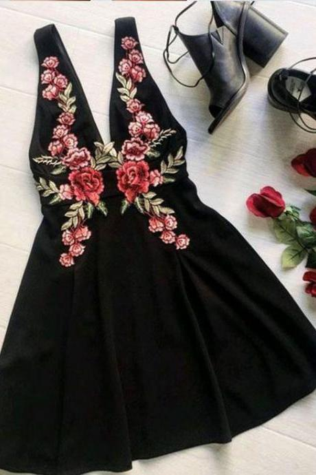 Black Homecoming Dresses,Cute Homecoming Dress,Short Prom Dress,Flower Homecoming Gowns