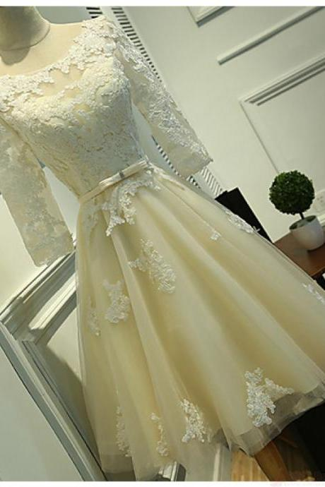 Long Sleeves Lace Tea Length Homecoming Dresses, Cheap Beach Short Gown