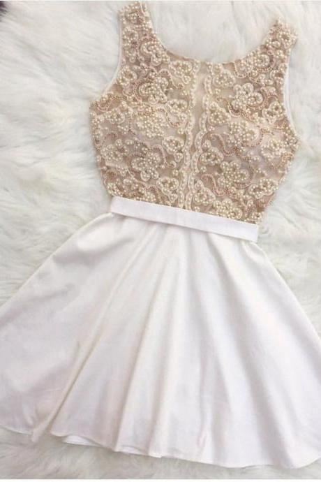 White Satin Cocktail Dresses Pearl Beaded Homecoming Party Gowns